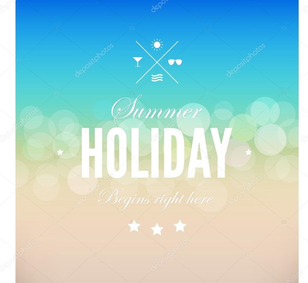 Summer beach poster template background in vintage retro style. Vector. Editable