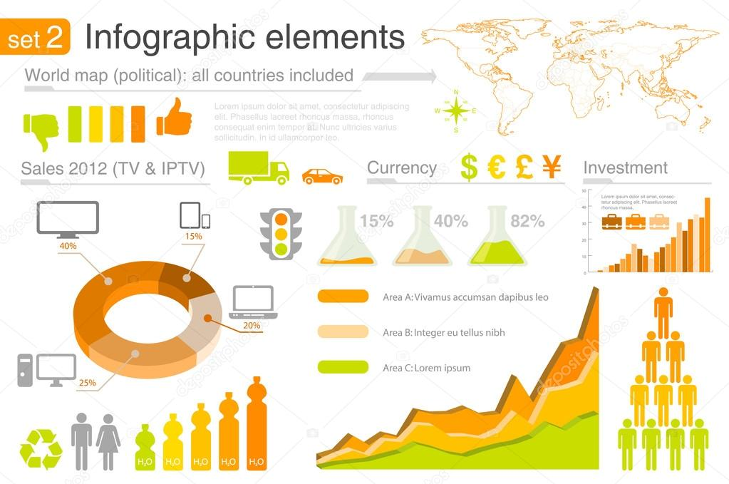 Infographics elements with icons For business and finance reports, statistics, diagram graph