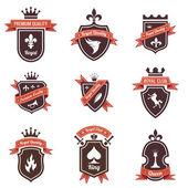 Fotografie ročník popisky sada. Umístěte své logo na štítu. copyspace. štít s pásem karet a korunu. znak. retro design. vysoká kvalita