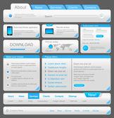 webové designéry toolkit. návrhové prvky kolekce. bílá modrá. vektor. upravitelné