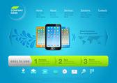 webová šablona: Tvorba webových stránek promo vektorové produktu. Smartphone