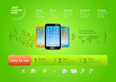 Fotografie webová šablona: Tvorba webových stránek promo vektorové produktu. Smartphone