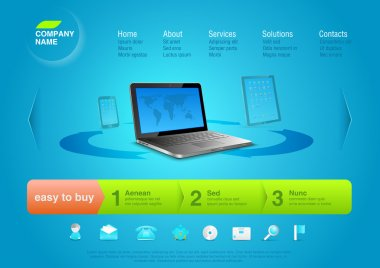 Website template: Notebook with touchpad & smartphone at the back. Business abstract online store. Editable.