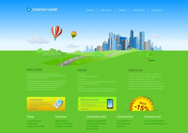 Website editable template: Business city on green grass horizon Uni themes: business concept, realty, innovations, services etc.