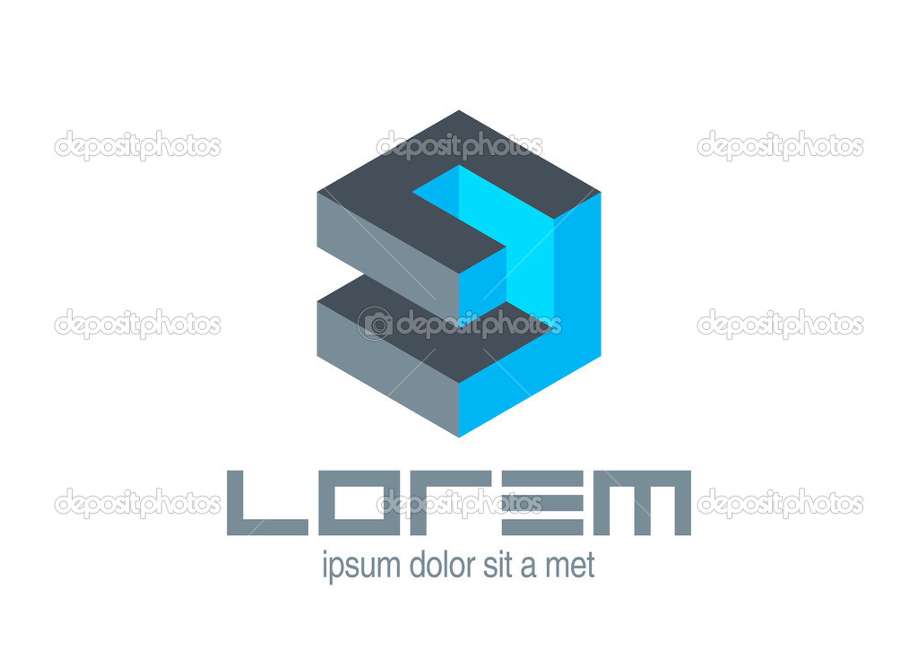 plantilla de logotipo abstracto. cubo rompecabezas de lógica. icono ...