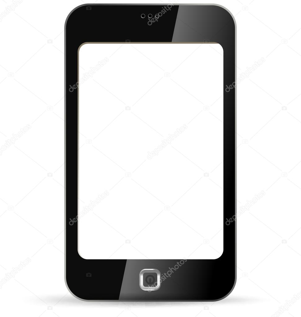 Blank touchscreen phone. Put your Logo, Application or Game. Smartphone vector. Copyspace.