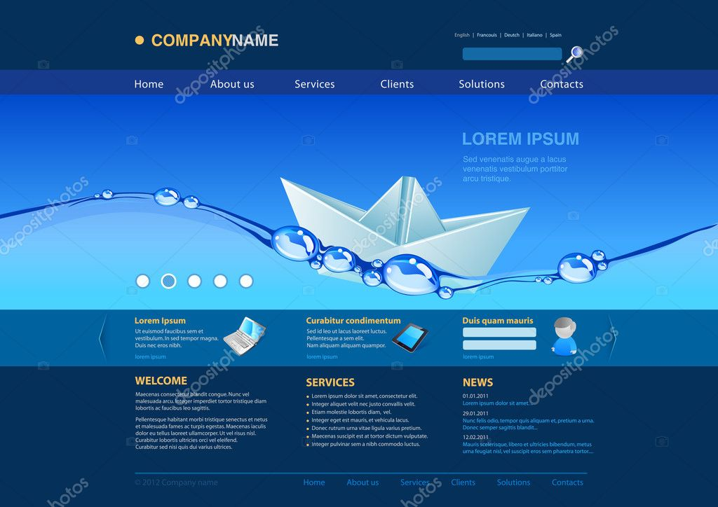 Website Editable Template Origami Paper Boat In The Water Uni Themes Business Concept