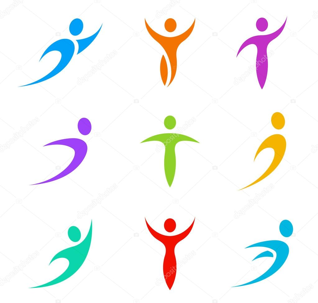 human logo template elements business sport icon set flying