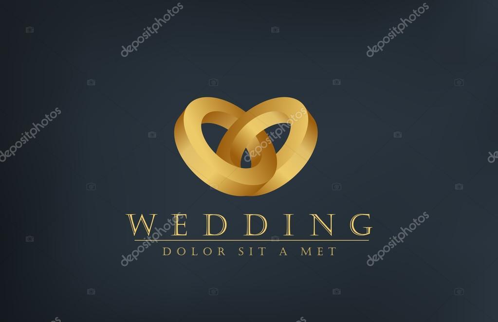 Wedding rings logo design template creative invitation card stock wedding gold rings vector logo template marriage invitation card concept heart love icon vector editable vector by sellingpix stopboris Images