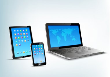 Touchpad, notebook, mobile phone vector perspective view