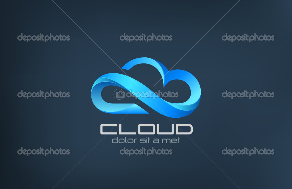 Cloud computing calibre d'icône vector logo design — Image