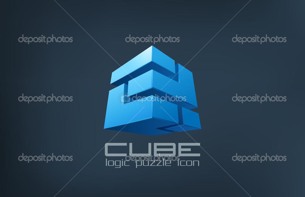 Resumen de tecnología cubo insignia. icono de caja lógica ...