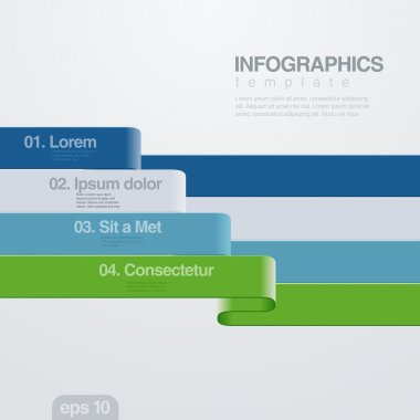 Infographics vector design template. Ribbon charts.