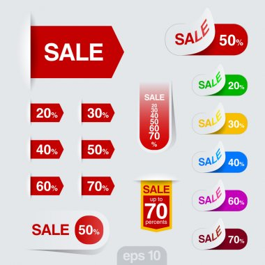 Sales badge, sticker vector design. Discount sale collection.