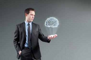 Man holding brain Hologram
