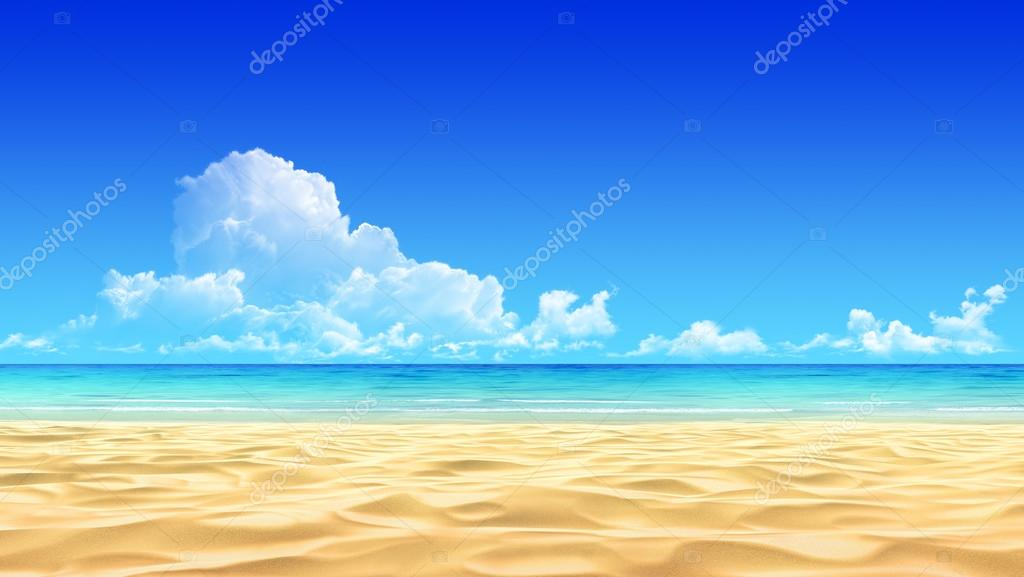 Empty tropical sand beach template.