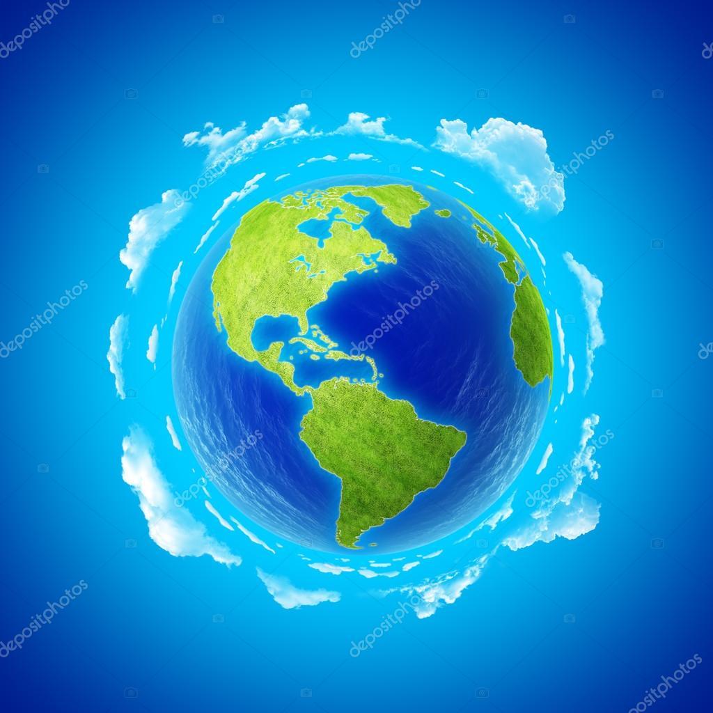 Beautiful Earth with clouds. Western hemisphere.