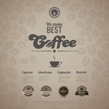 Coffee menu poster vector design template in retro style.
