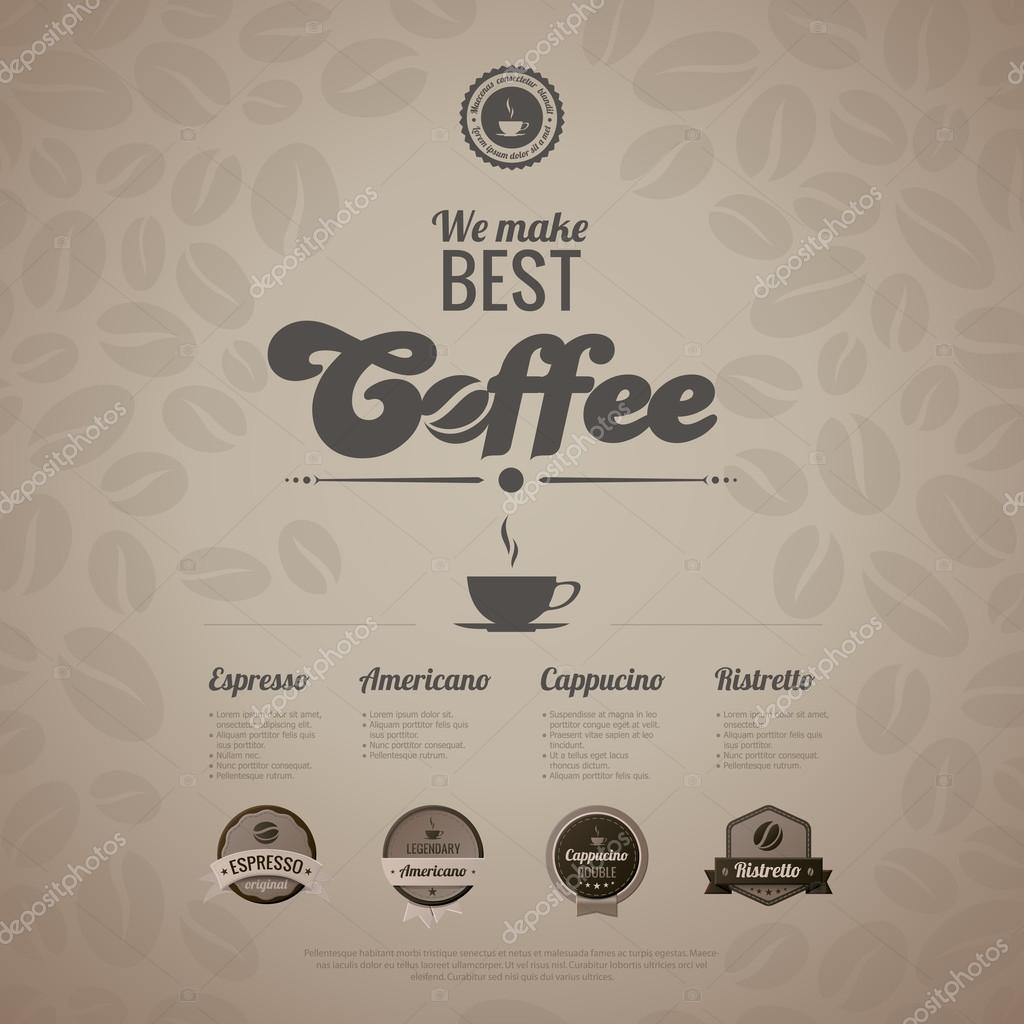 Coffee Menu Poster Vector Design Template In Retro Style Vintage Labels Included Trendy Editable By Sellingpix