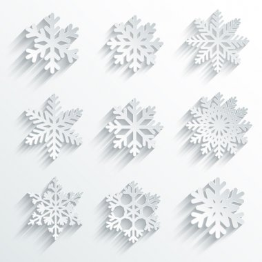 Snowflakes shape vector icon set.
