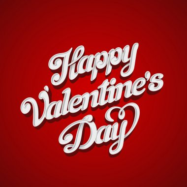 Happy Valentines Day Vector design lettering greeting card template. Creative Valentine Holiday Handwritten 3D Typography.
