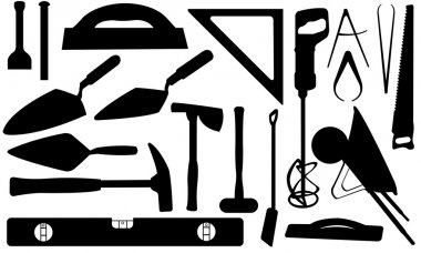 Set of different masonry tools stock vector