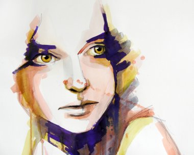 Watercolor portrait of beautiful girl