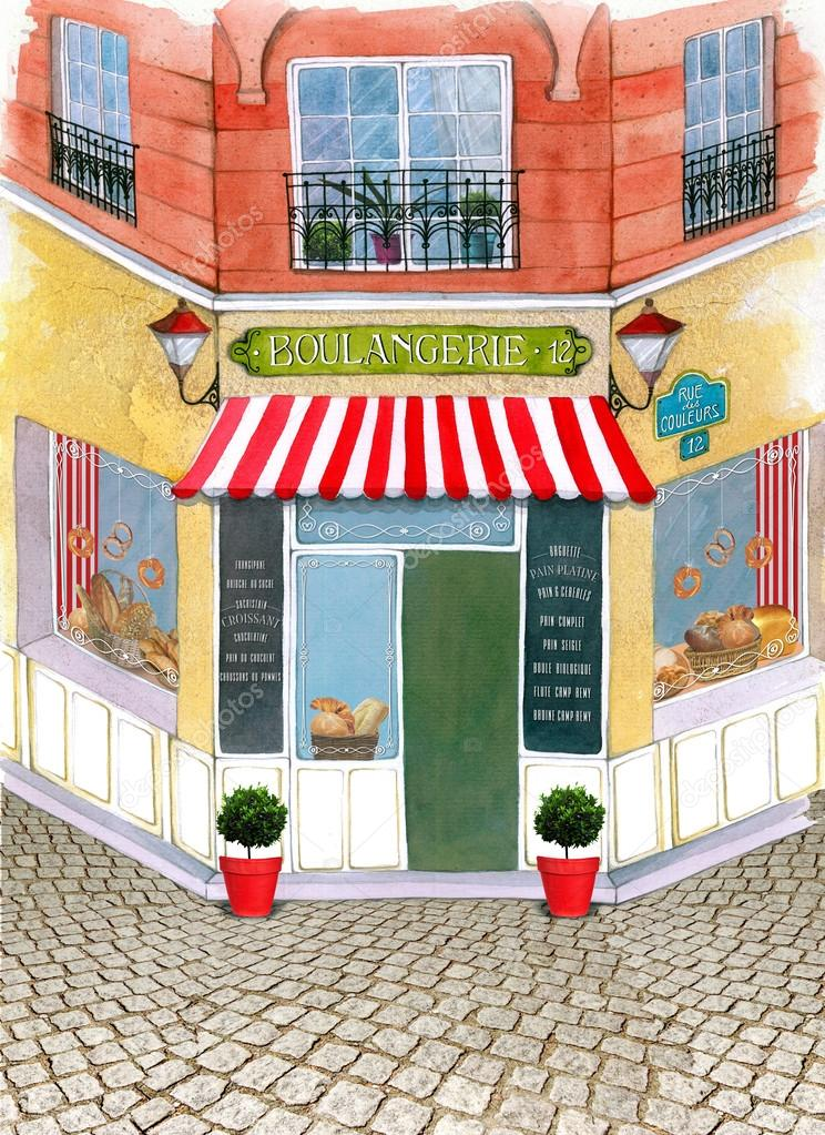 Illustrated beautiful street with french bakery