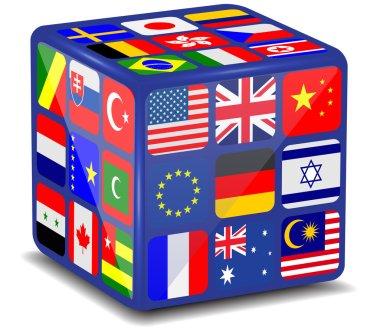 National flags 3d cube.Vector