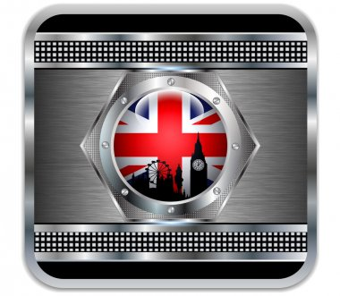Metal background British flag Big Ben silhouette.Vector