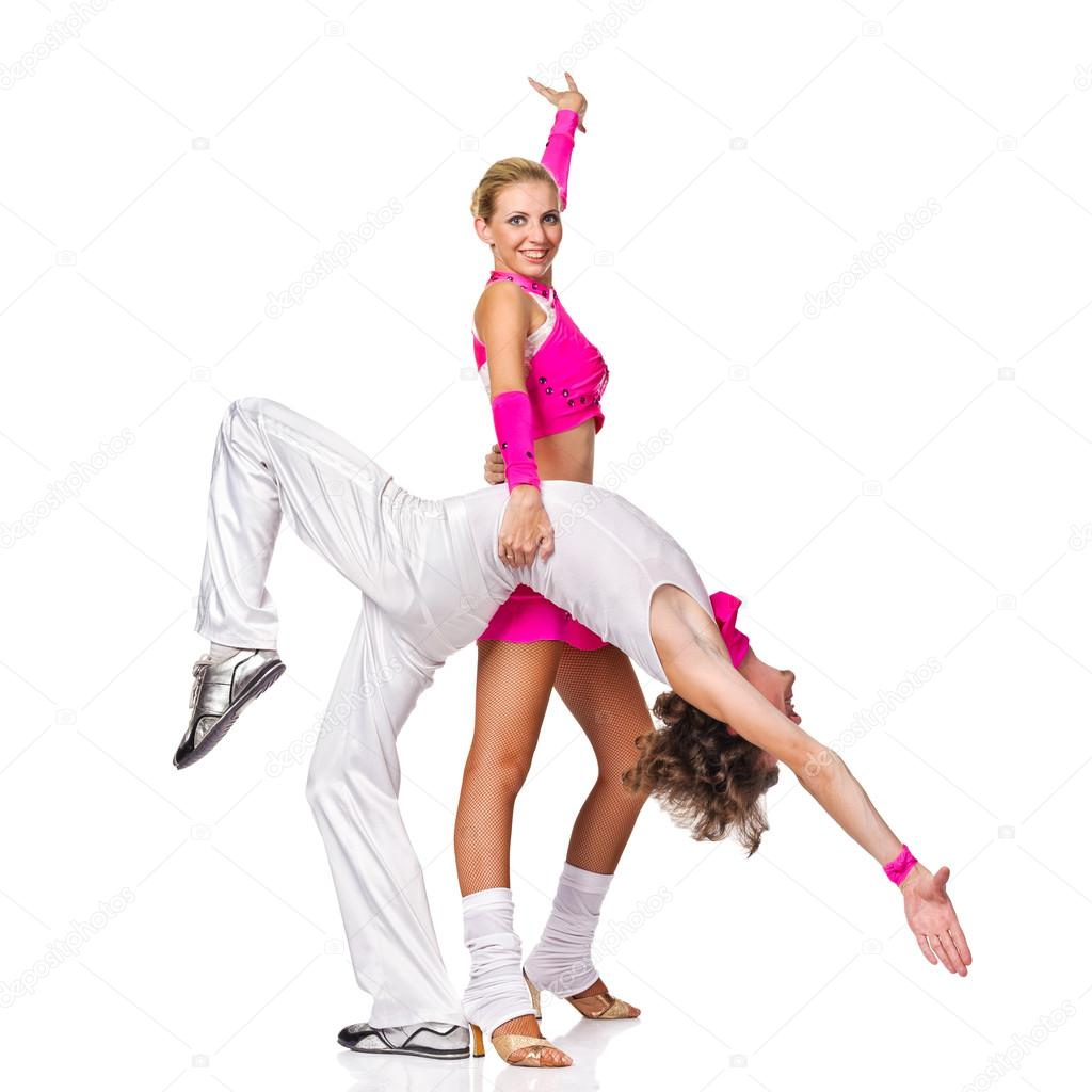 Sensual couple dancing salsa.