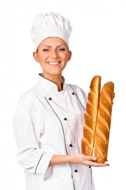 Cute female chef holding up a beautiful loaf of Italian Bread