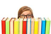 Spokojený úsměv mladý student ženu s knihami, izolované