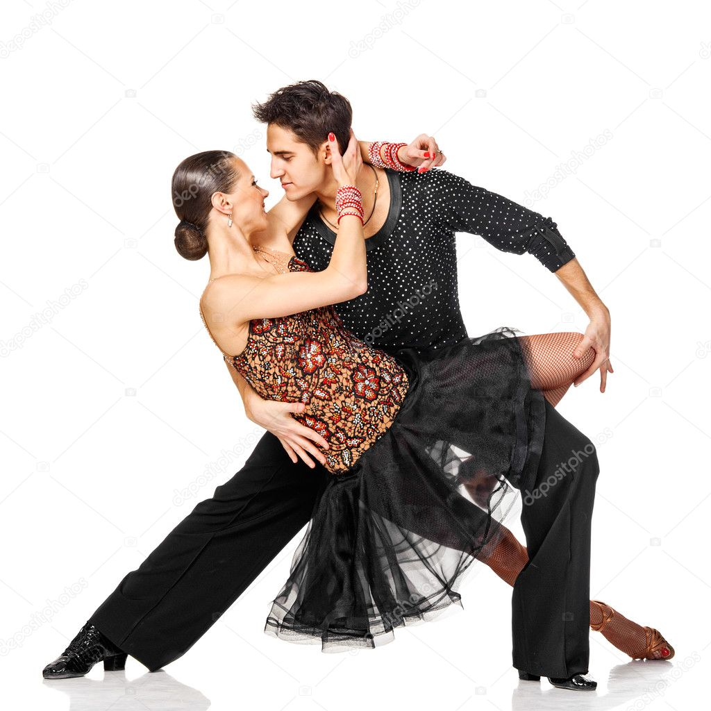 Sensual salsa dancing couple. Isolated