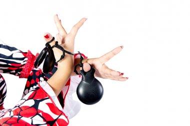Hands detail of Flamenco dancer in beautiful dress