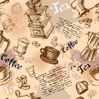 Seamless coffee background with hand drawn elements stock vector