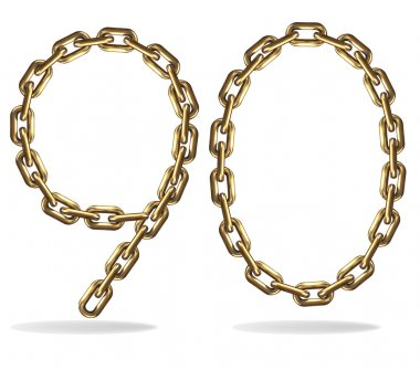 Vector Illustration of figures 9,0 from a gold chain on a white background