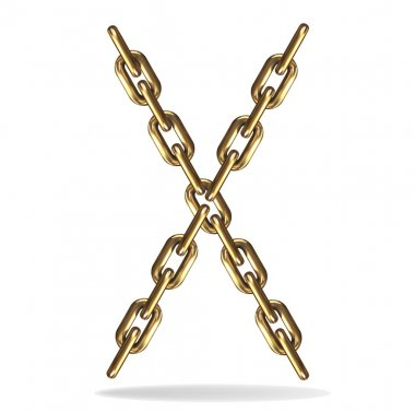 Vector Illustration of a letter X from a gold chain on a white background