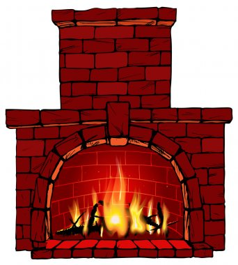 Vector illustration of fire in fireplace