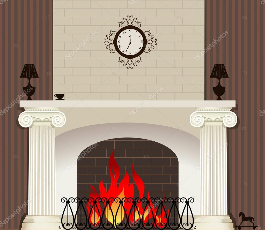 Illustration of home fireplace