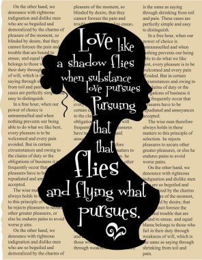 Vintage book page with quote by William Shakespeare from The Merry Wives of Windsor