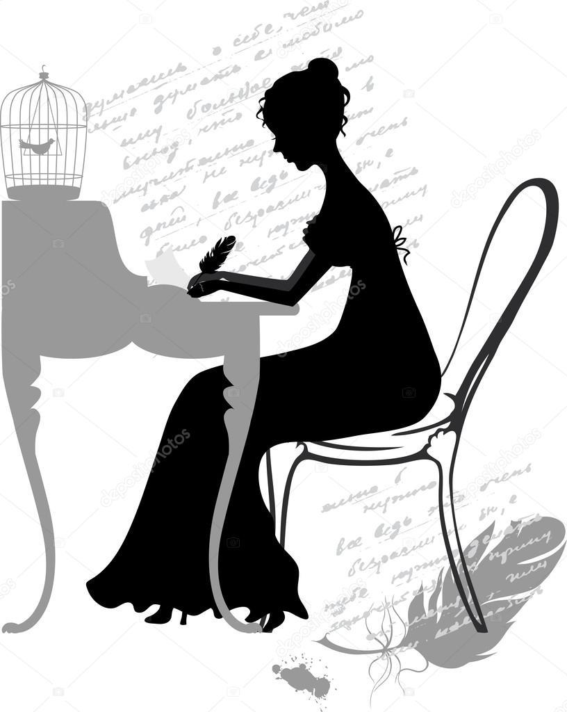 Illustration of retro girl, writing a feather pen letter — Stock ...