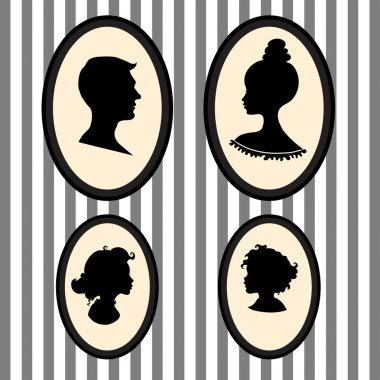 Family portraits silhouettes