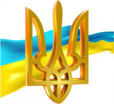 Ukrainian flag and Ukrainian coat of arms