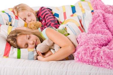 Sleeping sisters with bears
