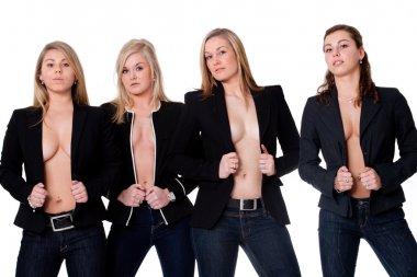 4 topless girls