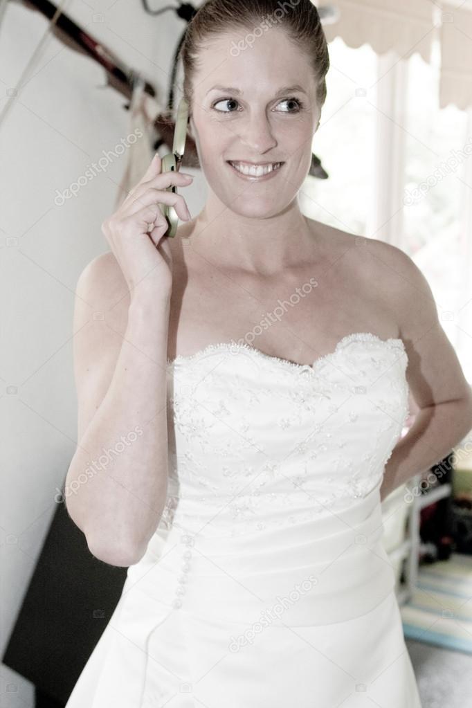 Bride makeing final arrangements