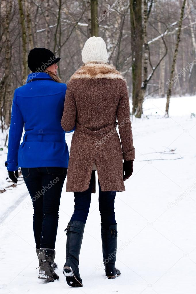 sisters on a winter walk