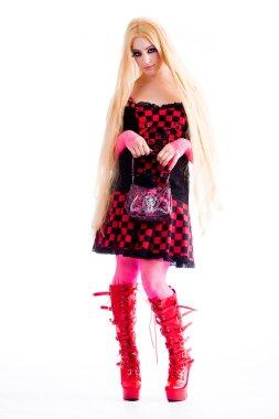 Elegance harajuku girl posing with her little handbag