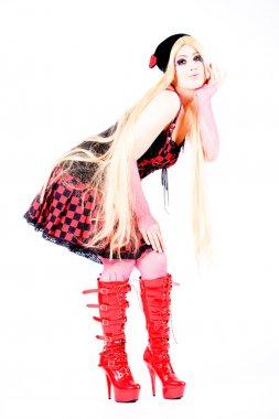 Girl with long hair dressed harajuku style